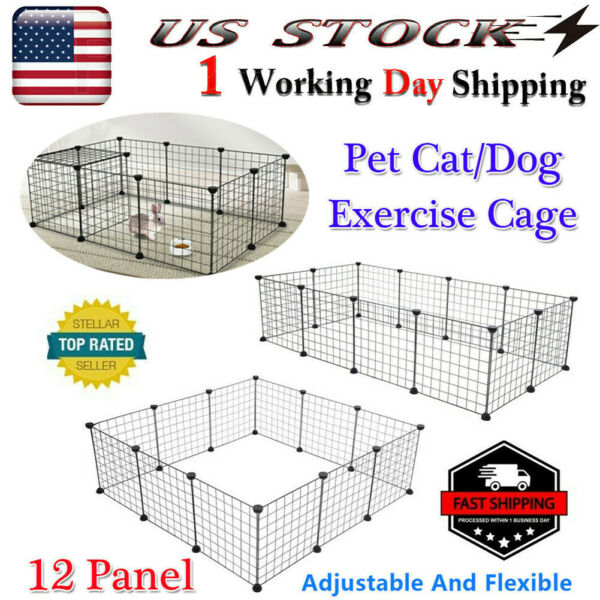 12Panel Metal Dog Playpen Large Crate Fence Pet Cat Exercise Cage DIY expandable