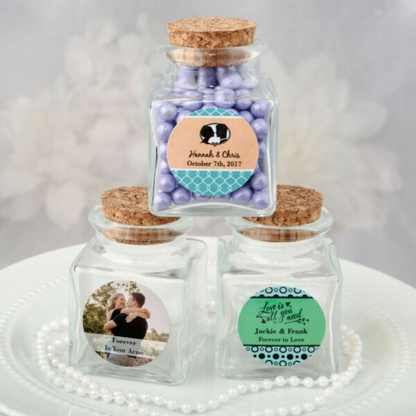 30 120 Personalized Square Clear Glass Treat Jar Wedding Shower Party Favors