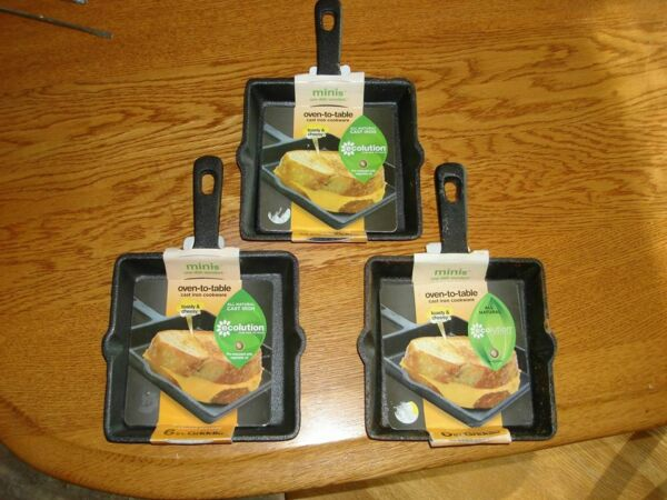 NEW Minis Ecolution One Dish Wonders 3 6quot; pre seasoned cast iron griddles