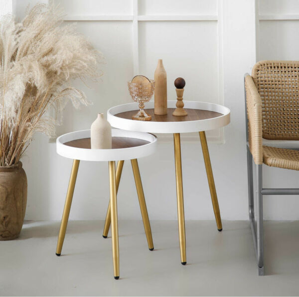"""Round Side Table 18quot; H x 15""""D Accent Table Nightstand Coffee Table White Wooden"""