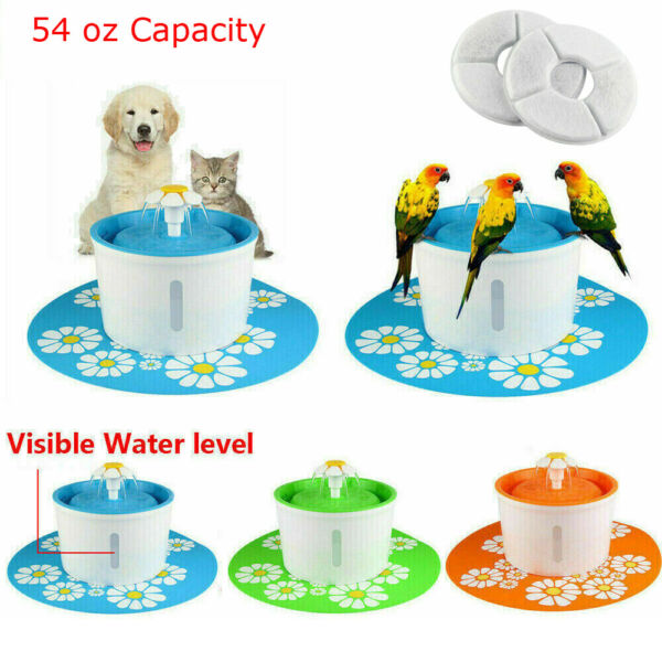 Automatic Dog Cat Water Fountain Dispenser Pet Drinking Bowl Filters Mat $6.59
