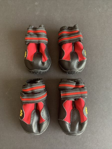 Covert Safe Red and Gold Dog Boots Size 3 Cute Dog Shoes Boots $8.99