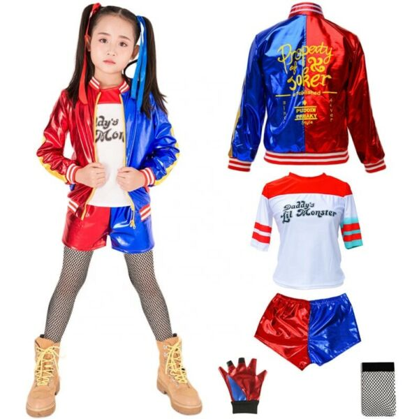Girl Kids Women Harley Quinn Suicide Squad Halloween Costume Cosplay Outfit Suit $29.10