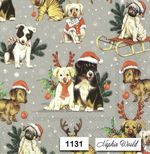 1131 TWO Individual Paper LUNCHEON Decoupage Napkins CHRISTMAS DOGS PUPS $1.98