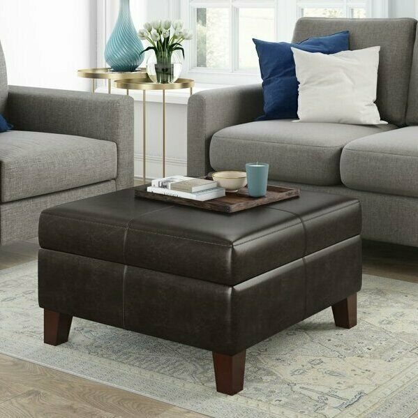 Storage Ottoman Square Coffee Table Footrest Bench Upholstered Faux Leather Seat