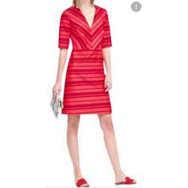 Banana Republic red and pink striped half sleeve dress 6 NWT $57.00