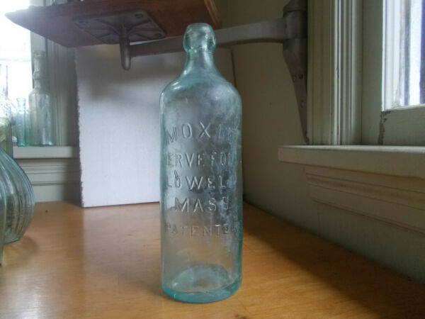 1880s APPLIED BLOB TOP MOXIE NERVE FOOD LOWELL MASS PATENTED BIG 10quot; BOTTLE