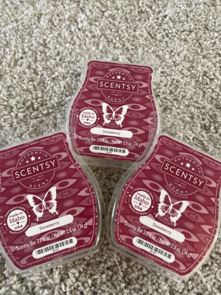 Lot of 3 Scentsy Snowberry Wax Bars New Scent Warmer New