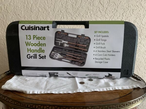 New Cuisinart CGS W13 13 Piece Wooden Handle Grill Set Free Shipping