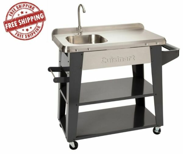 Cuisinart Deluxe Outdoor Cooking Station BBQ Prep Table Grill Serving Cart New