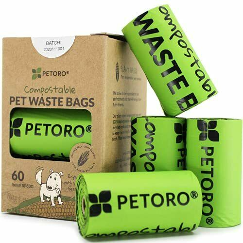 PETORO Biodegradable Dog Poop Bags Compostable Dog Waste Bags 60 count $13.06