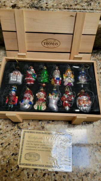 Thomas Pacconi Blown Glass Christmas Ornaments Collection Wooden Crates Set 42