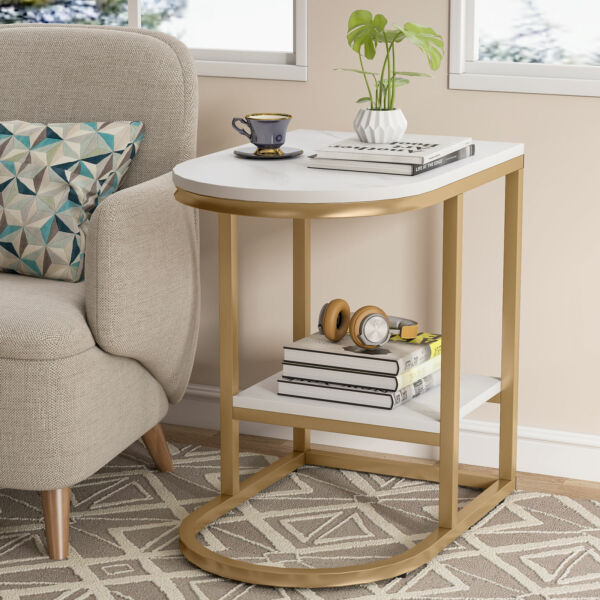 2 Tier Coffee Table End Table Sofa Table w Marble Tabletop for Home Office