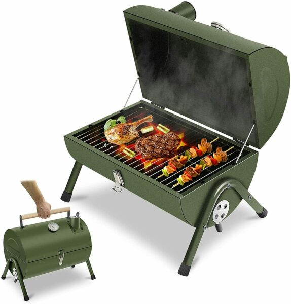 ACWARM HOME Portable Charcoal Grill Small BBQ Smoker Grill Outdoor Picnic Green
