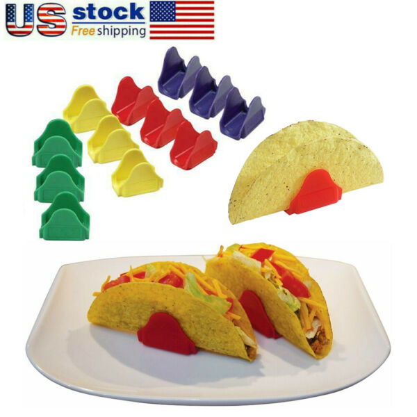 Set of 12 Taco Holders Multicolored Taco Proper Hard Shell Stand Fun Way To Eat $8.99