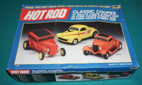 HOT ROD Classic Coupes #x27;32 Ford #x27;34 Ford #x27;41 Willys Revell 1 25 Complete.