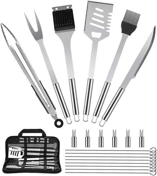 21 PCS BBQ Grill Set with 4 In 1 Spatula Grilling Tongs and a Whole Lot More.