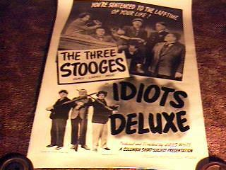 3 STOOGES IDIOTS DELUXE MOVIE POSTER '45 LINEN  CURLY