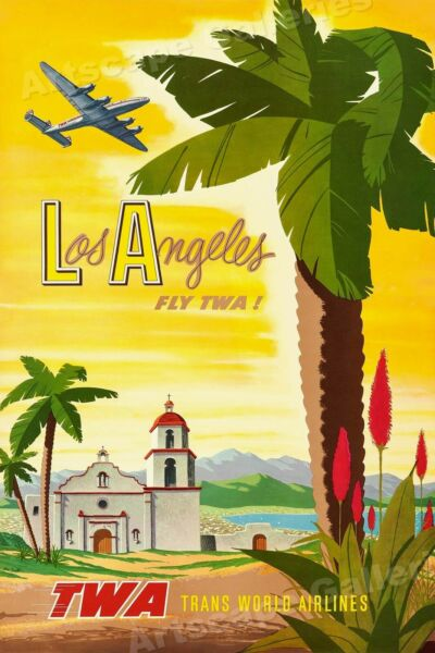 1955 Los Angeles California TWA Vintage Style Airline Travel Poster - 24x36
