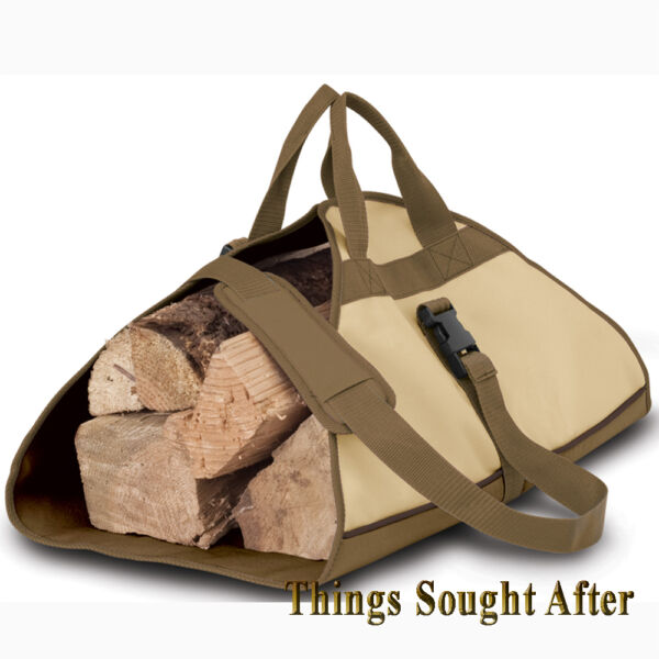 FIREWOOD LOG CARRIER Fire Wood Tote Canvas Carrying Bag Holder Carry VERANDA