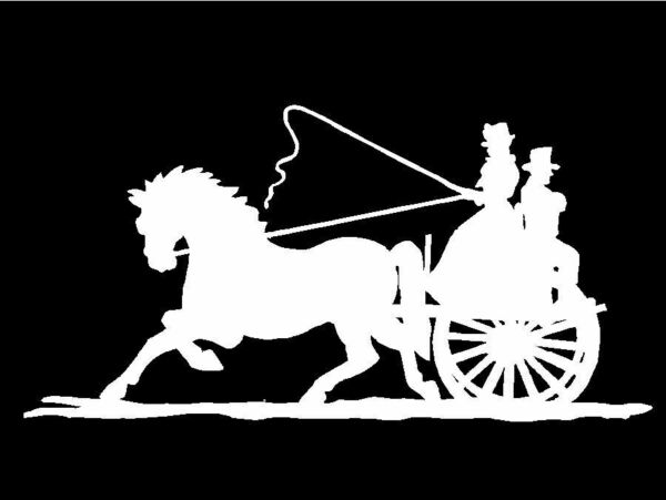 Horse drawn Carriage Decal Wagon Old Time Fashioned Buggy Car Window Sticker