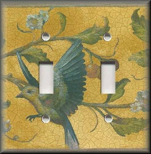Metal Light Switch Plate Cover - Antique Bird Crackle Vintage Home Decor Golden