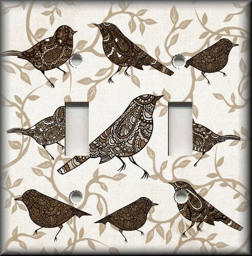 Metal Light Switch Plate Cover - Decorative Birds Brown Home Decor Bird Decor
