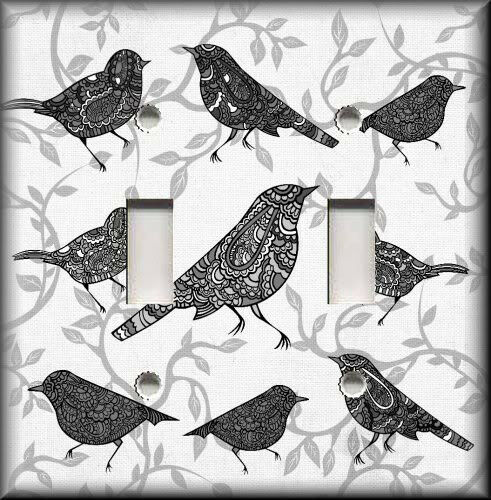 Metal Light Switch Plate Cover - Decorative Birds Black Grey White - Home Decor