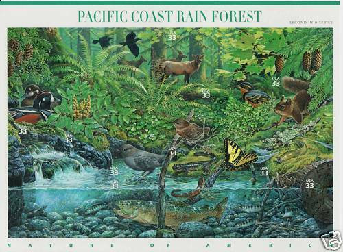 PACIFIC COAST RAIN FOREST STAMP SHEET USA #3378 33 CENT NATURE OF AMERICA