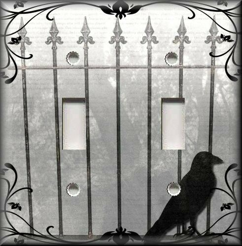 Metal Light Switch Plate Cover - Decorative Gate Crow Bird Gothic Home Decor