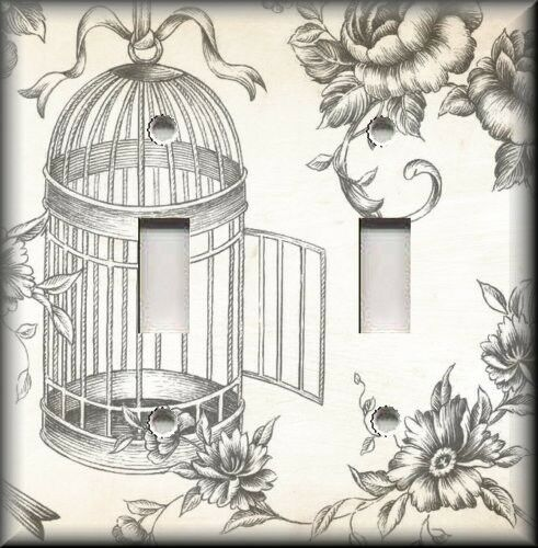 Metal Light Switch Plate Cover Vintage Bird Cage Toile Shabby Chic Decor Grey