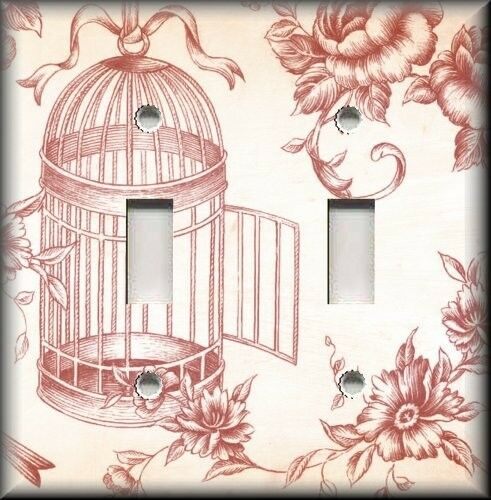 Metal Light Switch Plate Cover - Vintage Bird Cage Toile Shabby Chic Decor Red