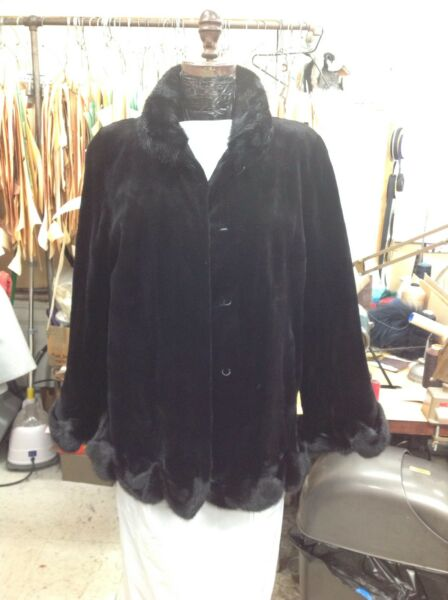 BLACK SHEARED MINK SWING JACKET COAT RUFFLED & SCALLOPED GORGEOUS NEW STYLE