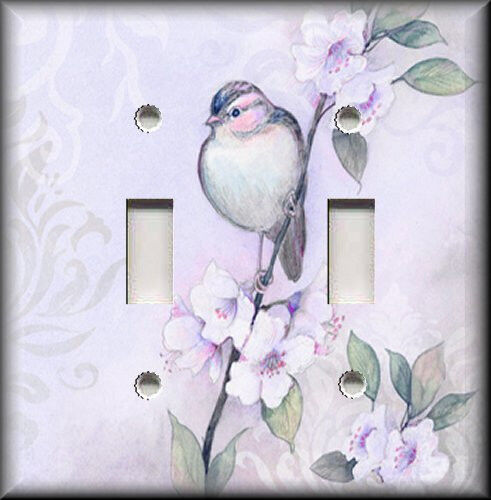 Metal Light Switch Plate Cover - Song Bird Flowers Shabby Chic Home Decor Purple