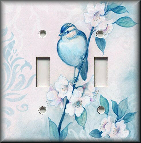 Metal Light Switch Plate Cover Song Bird With Flowers Shabby Chic Decor Blue