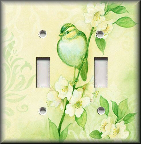 Metal Light Switch Plate Cover - Song Bird With Flowers Shabby Chic Decor Green