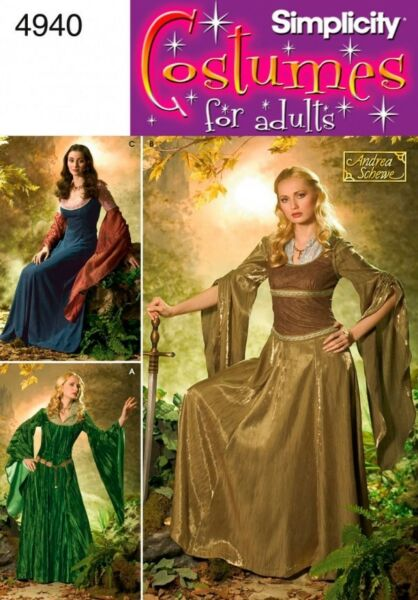 SIMPLICITY SEWING PATTERN 4940 MISSES MEDIEVAL MYSTICAL LOTR ELF COSTUMES 20 26
