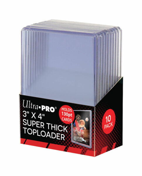 Pack of (10) ~ Ultra Pro Extra Thick Clear Rigid Top Loaders ~ 130pt ~ New!