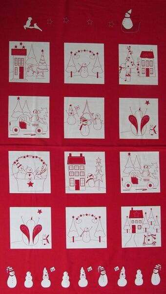 Moda Fabric WINTER WONDERLAND Redwork panels