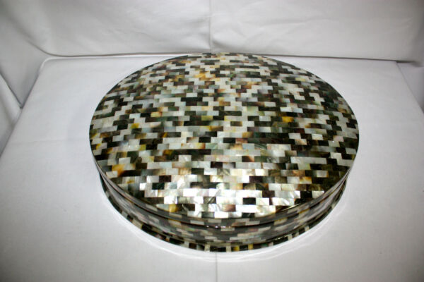 Egyptian Mother of Pearl Large Oval Paua Inlaid Jewelry Box 16