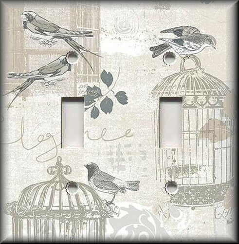 Metal Light Switch Plate Cover - Vintage Bird Cages Birds Shabby Chic Decor Grey