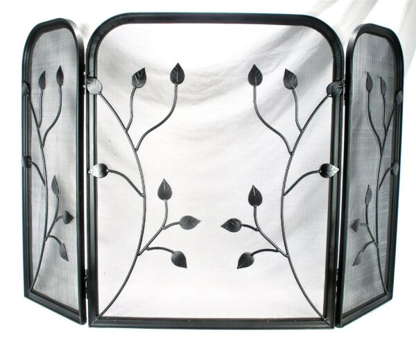 VINTAGE METAL ART LEAF 3 PANEL FOLDING FIRE PLACE FIREPLACE MESH SCREEN DOOR