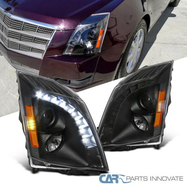 2008-2014 Cadillac CTS Replacement Black SMD LED Projector Headlights Pair