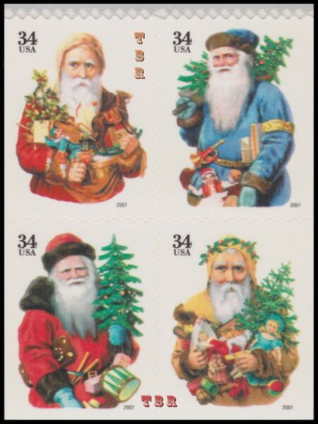 Holiday 2001 Santa Large Date 3537b 40e 3540f Block 4 From Pane MNH Buy Now $5.95