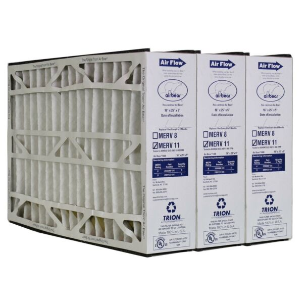 Trion Air Bear 255649-105 Pleated MERV 11 Media Furnace Filter 16x25x5 - 3 Pack