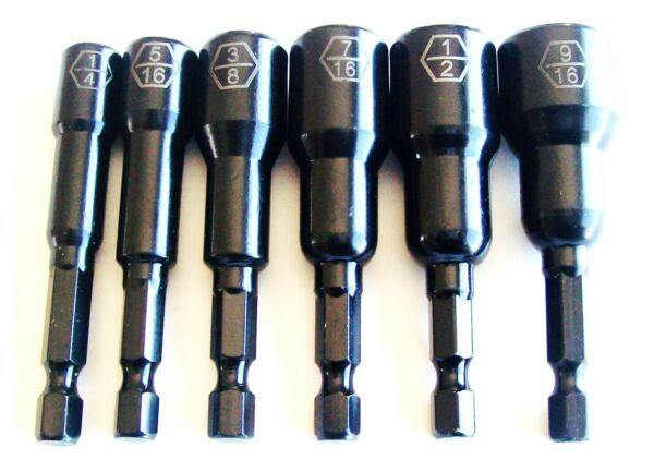 6pc GOLIATH INDUSTRIAL 2-9/16 IMPACT MAGNETIC NUT DRIVER SETTER SET LASER ETCHED
