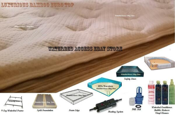 Complete QUEEN SOFTSIDE WATERBED with Bamboo Cover 95% Waveless