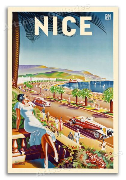 1935 Nice France Beach Vintage Style French Travel Poster - 20x30