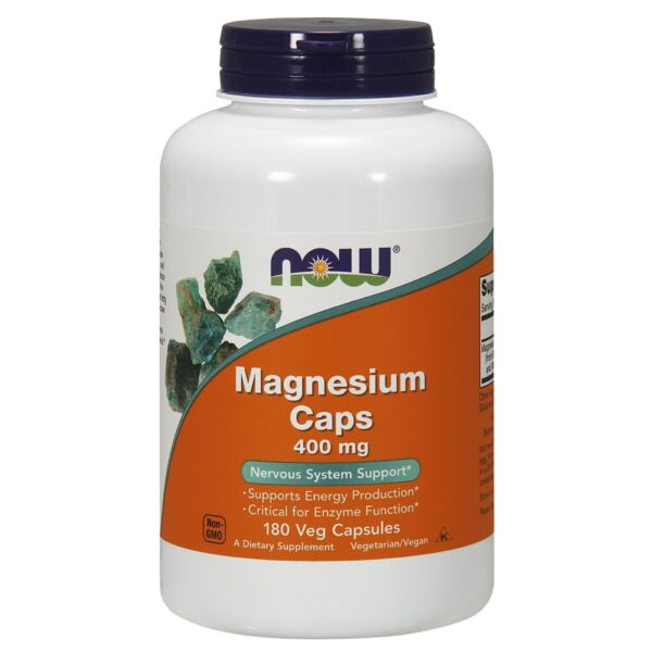 Now Foods Magnesium 400 mg 180 Capsules Fresh Free Shipping Made in USA $12.58