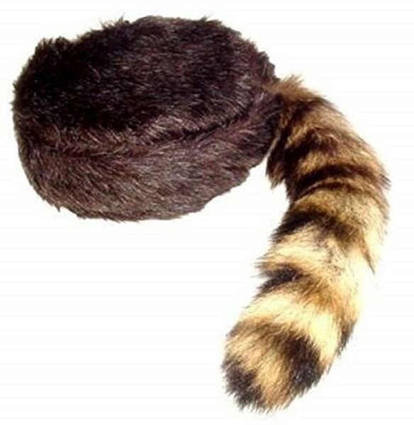 Davy Crockett  Daniel Boon Coon Skin Hat With Real Coon Tail Multi Sizes $12.90